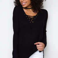 Steffi Lace Up Sweater - Black