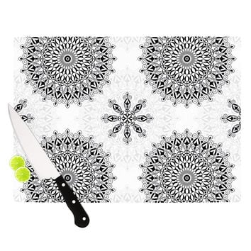 "Julia Grifol ""Black Mandala"" White Black Cutting Board"