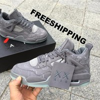"【FREE SHIPPING】KAWS x AIR JORDAN 4 (COOL GREY ""KAWS"") BASKETBALL SNEAKER SKU: 930155-003"