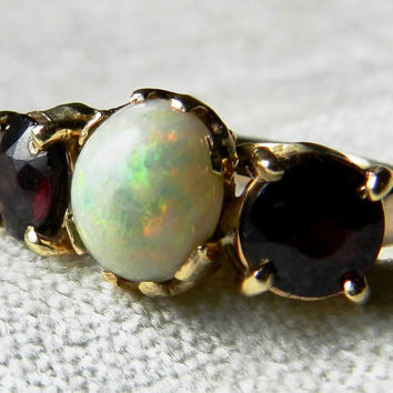 Opal Ring 1.25 Ct Antique Opal Engagement Ring, Antique Australian Opal Garnet Ring 14K October Birthday