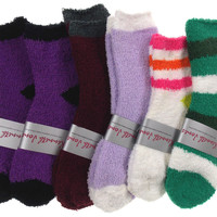 Lot of 6 Pairs Cozy Socks 4-10 Women Crew Kenneth Jones Fuzzy Warm Black Green