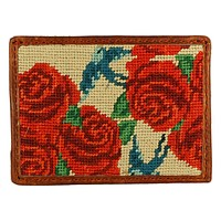 Rose Print Needlepoint Credit Card Wallet in Khaki by Smathers & Branson