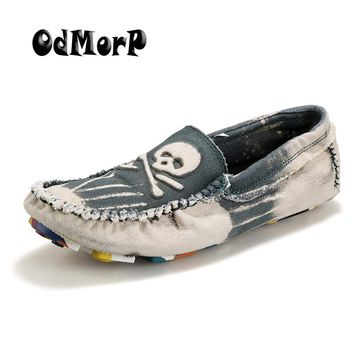 ODMORP Washed Denim Shoes For Men Fashion Cool Skull Slip On Loafers Soft Mens Casual Shoes Fashion Sneakers Chaussure Homme