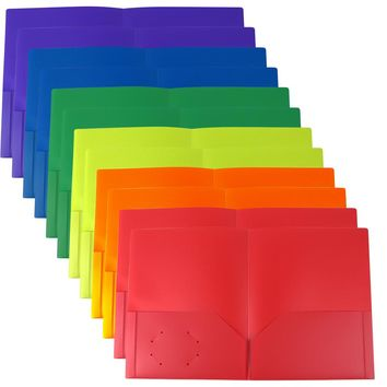 Evelots Heavy Duty Plastic 2 Pocket Folders W/ Business Card Slot, 12 Pack