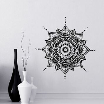Mandala Wall Decal Yoga Studio Vinyl Sticker Decals Ornament Moroccan Pattern Namaste Lotus Flower Home Decor Boho Bohemian Bedroom Art T108