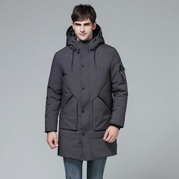 Winter Long Hooded Thick Duck Down Jacket Men Military Style Waterproof Windproof Down Coats Man Fashion Padded Overcoat 081902