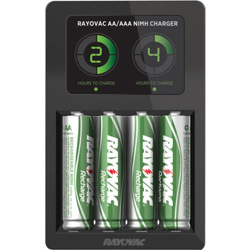 Rayovac Lcd Smart Charger With 4 Aa Nimh Low Self-discharge Batteries