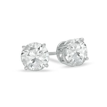 IGI-Certified 14k Gold Round-Cut Diamond Stud Earrings (2 cttw, I-J Color, I2-I3 Clarity)