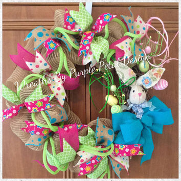 Easter Wreath, Burlap Easter Wreath, Spring Wreath, Summer Wreath, Spring Burlap Wreath, Easter Bunny Wreath, Grapevine Wreath, Easter