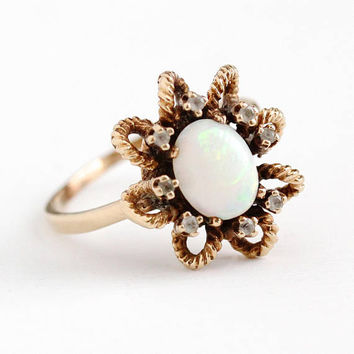 Vintage Opal Ring - 10k Rosy Yellow Gold Genuine Gem & Created White Spinel Halo Statement - Size 10 Retro Cluster Trubrite Fine Jewelry