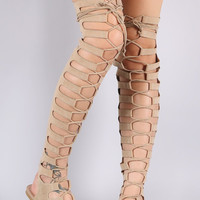 Cape Nude Open Lace Up Front Thigh High Gladiator Sandals