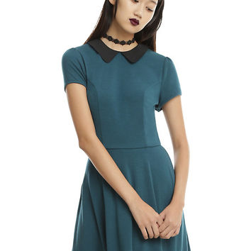 Deep Teal Black Collar Skater Dress
