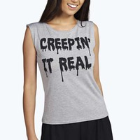 Pipa Creeping Slogan Vest And Short Night Set