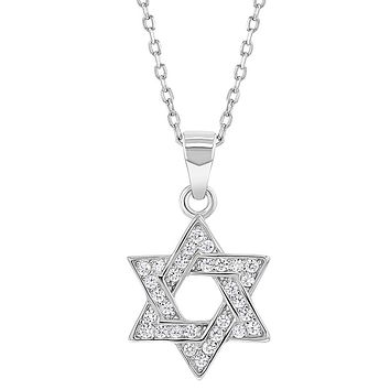 925 Sterling Silver Clear CZ Star of David Jewish Pendant Women's Necklace 18""