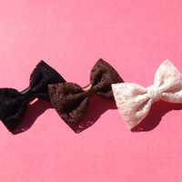 Beautiful black, brown and cream lace Seaside Sparrow hair bows. Brandy Melville and Urban Outfitters inspired.