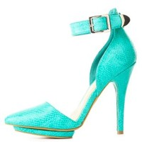 Python Print Ankle Strap & Pointy Toe Heels by Charlotte Russe - Teal