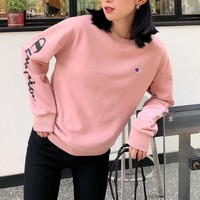 """Champion"" Women Solid Color All-match Unique Fashion Letter Logo Embroidery Long Sleeve Sweater Tops"