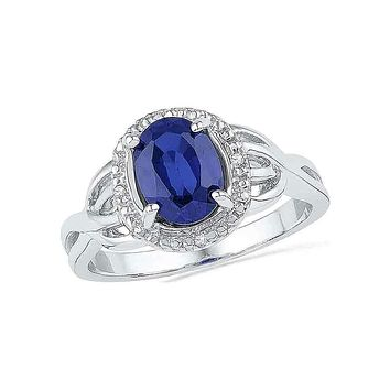 10kt White Gold Women's Oval Lab-Created Blue Sapphire Solitaire Diamond Ring .02 Cttw - FREE Shipping (US/CAN)