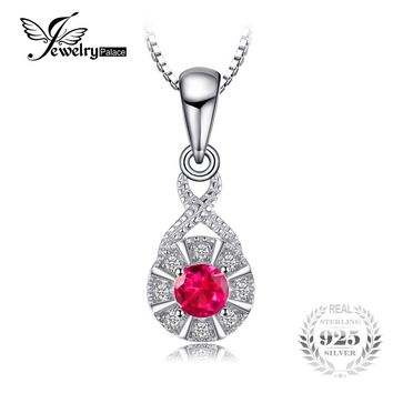 JewelryPalace Vintage 0.37ct Round Created Ruby Necklaces Pendants 925 Sterling Silver 45 cm Box Chain Luxury Brand Fine Jewelry