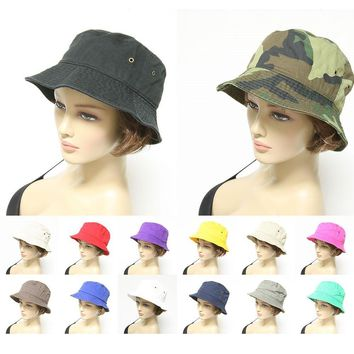 Mens womens Bucket Hat Cap Fishing Boonie Brim Hiking Safari Golf 100% Cotton