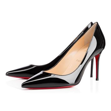 Best Online Sale Christian Louboutin Cl Decollete 554 Black Patent Leather 85mm Stilet