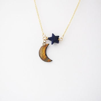 Crescent moon and star  necklace. Moon necklace Planet jewelry