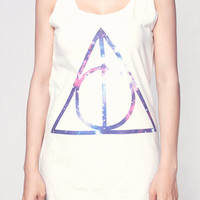 Deathly Hallows Galaxy Shirt Harry Potter Movie Symbol Shirts Women Tank Top White Shirt Tunic Top Vest Sleeveless Women T-Shirt Size S M