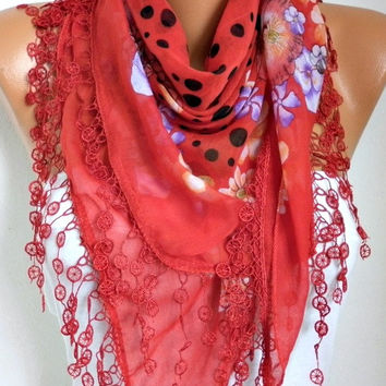Red Scarf Fall Winter Accessories Cotton Scarf - Necklace Cowl Gift Ideas For Her Women Fashion Accessories Christmas Gift
