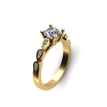 Diamond Moissanite Engagement Ring 14K Yellow Gold with 6.5mm Round Brilliant Moissanite Ctr - V1026