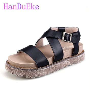 HanDuEKe New 2017 Genuine Leather Gladiator Sandals Fashion Wedges Girls Platform Sandals Women Summer Casual Beach Shoes Woman