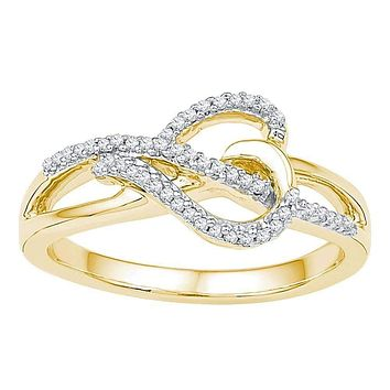 10kt Yellow Gold Women's Round Diamond Heart Infinity Ring 1/6 Cttw - FREE Shipping (US/CAN)