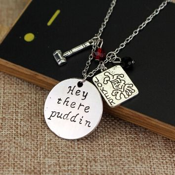 "New Arrival Suicide Squad Harley Quinn Necklace,""Hey there Puddin"" Letter Pendant Joker Card,Hammer,Crystals Cosplay Jewelry"