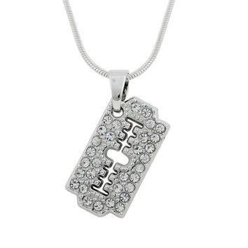 Jewelry Polished Zinc Alloy Silver Plated Razor Blade Brushed Pendant Snake Chain Necklace-0411