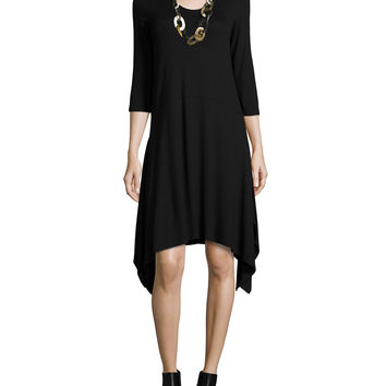 3/4-Sleeve Jersey Dress W/ Arched Hem, Petite, Size: