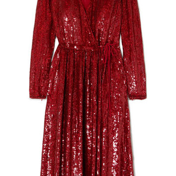 Ashish - Sequined silk-georgette wrap dress