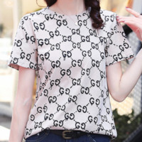 GUCCI 2018 spring new tide cotton female letter printing round neck short sleeve Khaki