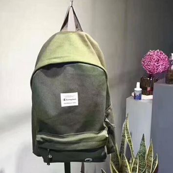 Champion New fashion letter print travel high capacity couple bag backpack Army green