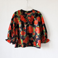 Vintage Floral Blouse 70s, soviet era women's clothing, vintage mid century clothing, gypsy style brigth blouse, black and red green roses