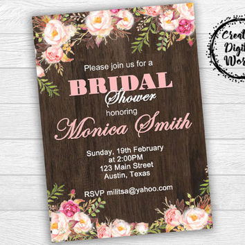 Rustic Bridal Shower Invitation Printable, Pink Flowers Bridal Shower Invitation,Peony,Peonies,Bridal Shower, Digital File