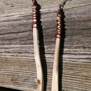 Raccoon Bone earrings - Real Animal Bone Jewelry - Copper Wrapped Bone Earrings - Boho Tribal Earrings - Wiccan Pagan Jewelry