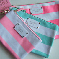 Victorias Secret Pink Stripe Makeup Bag trio set 3 lot cosmetic case Brand New