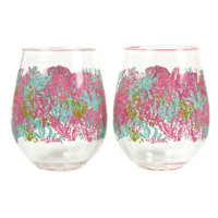 Lilly Pulitzer Acrylic Stemless Wine Glass Set: Lets Cha Cha