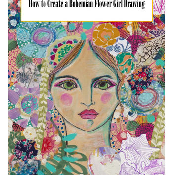 Bohemian flower girl drawing ebook, how to draw a flower girl, how to draw a whimsical flower girl, art classes, bohemian girl drawing ebook