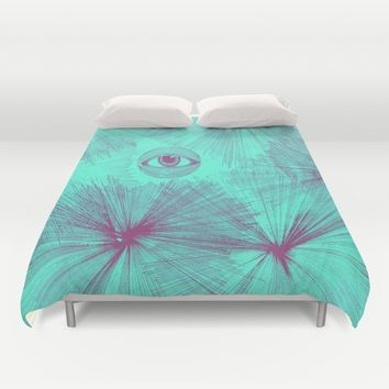 Uncommon Knowledge - Teal Duvet Cover by Ducky B