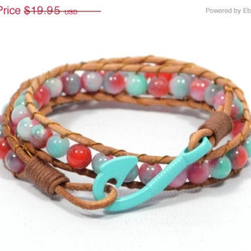 Mothers Day Sale turquoise beaded bracelet * wrap leather bracelet * colorful bracelet * fish hook bracelet * women bracelet * beaded jewelr