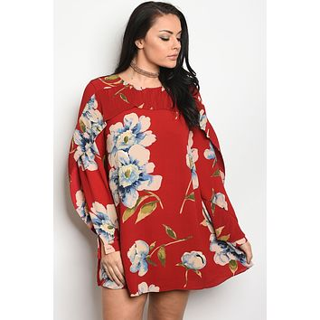 Ladies fashion plus size long sleeve floral print skater dress that features a rounded neckline