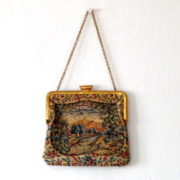 Embroidered tapestry bag / sunset / rural scene / floral / roses / vintage / 1950s / gold / gilt / lined / chain strap / small clasp bag