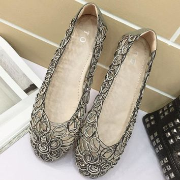 Fashion spring and summer new style women's shoes mesh hollow woven flat heel flats