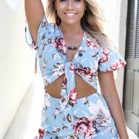 All You Need Blue Tie Knot Romper