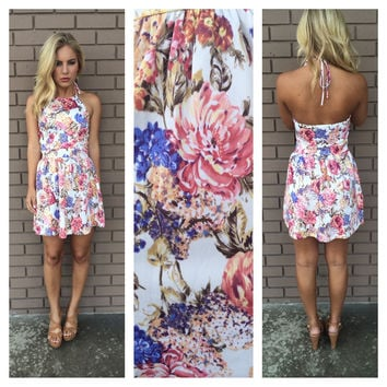 Field of Flowers Halter Dress